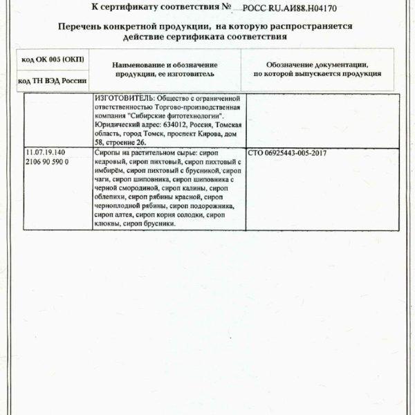 Приложение к сертификату Сиропы